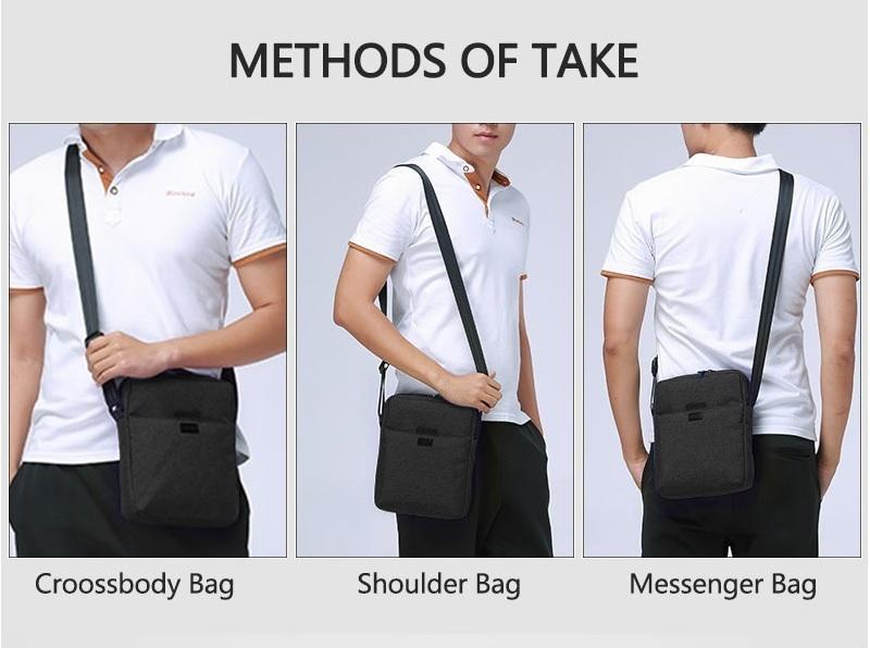 TINYAT Light Canvas Men's Shoulder Bag For 7.9' Ipad Casual Crossbody Bag Waterproof Business Shoulder bag for men 0.13kg 4