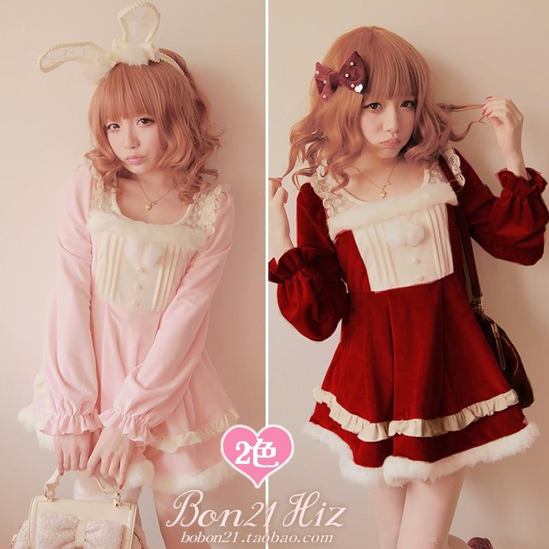 Princesse douce lolita robe Bobon21 cerise dentelle fourrure hiver robe noël rose rouge robe laine boule pom une-pièce d0944
