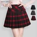Primavera otoño estilo preppy a cuadros de la alta calidad de las mujeres faldas uniforme estilo a line niña a cuadros plisada falda de cintura alta