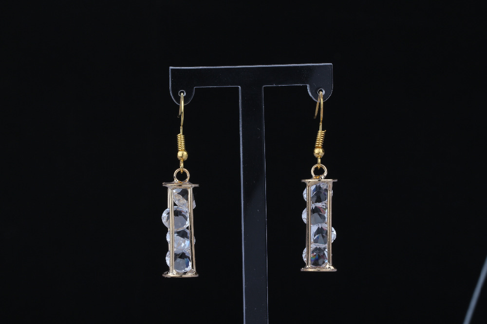 Earrings Obedient Vintage Gold Hourglass Hollow Cube Cage Column Rhinestone Charms Drop/dangle Long Earrings For Women Jewelry Accessories A778 Jewelry & Accessories