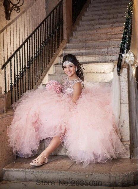 Real photo de lujo de color rosa 2017 vestido de bola de quinceanera vestidos illusion scoop sweet 16 año princesa vestidos para 15 años