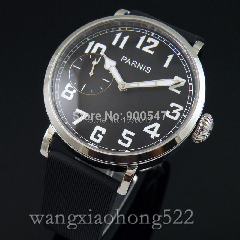 Details 46mm parnis polished case black dial manual wind 6497 mens Mechanical watch 444 - wo shi ni ye store