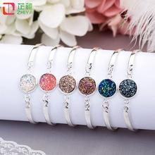 Popular Silver Color Round Beads Setting Bracelets Natural Druzy Love Bangles Bracelets wholesale