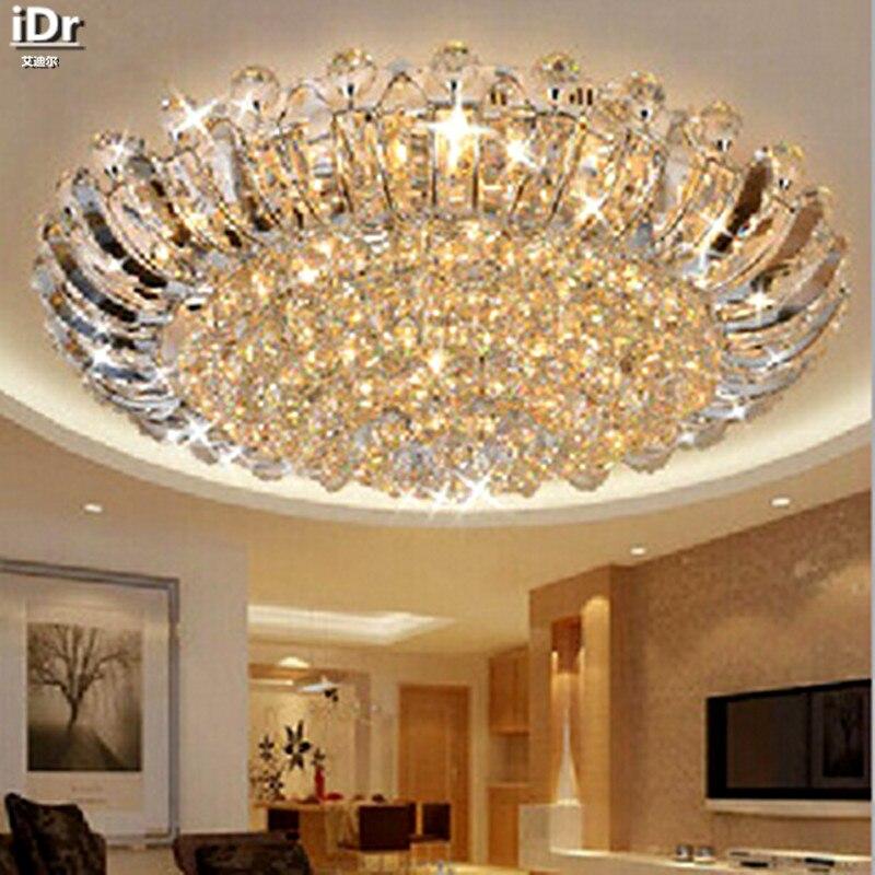 Contemporain de luxe cristal plafond circulaire salon lumières LED éclairage chambre plafonniers 100% qualité garantie