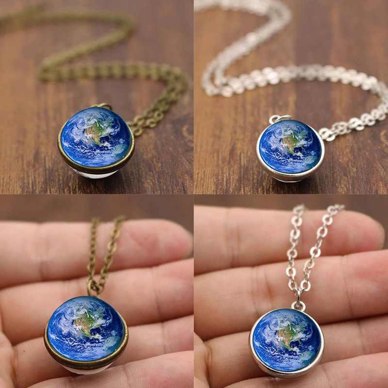 Planète terre cristal étoiles boule verre galaxie motif chaîne en cuir pendentifs Maxi collier pour Womem petite amie cadeau