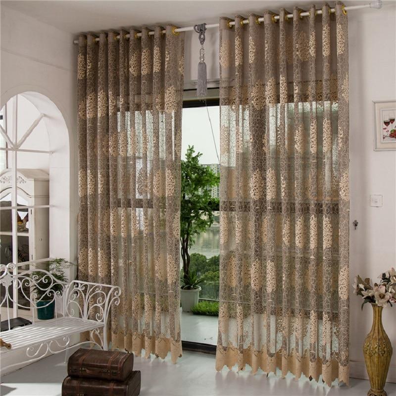 Envío libre Cortina de Encaje rústico moderno diseño jacquard cortinas de tul or