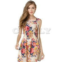CUERLY Woman Beach Dress Summer Boho Print Clothes Sleeveless Party Casual Short Sundress Plus Size Floral S092
