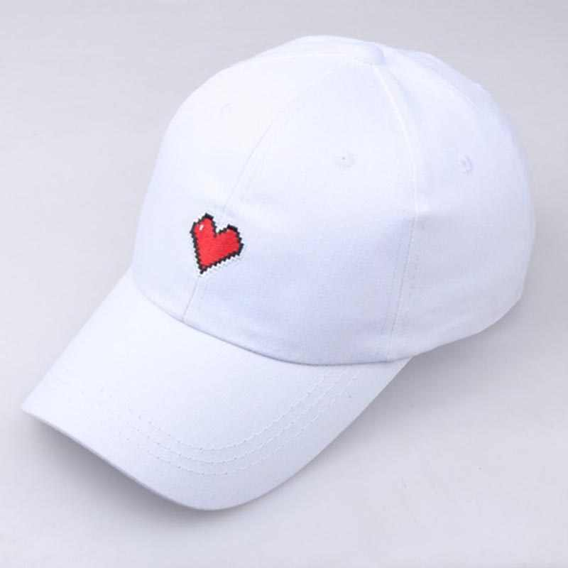 d258513d70833f Spring Summer Unisex Heart Embroidery Baseball Caps For Lovers Solid Black Snapback  Hats Dad Cap Drop