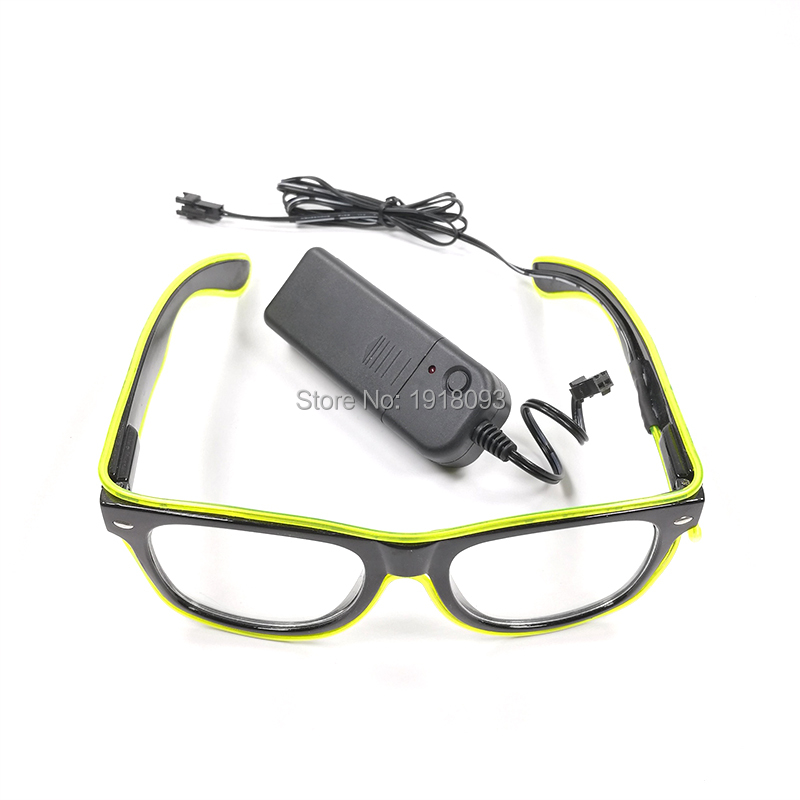 2017 Fashion Color Lemon green EL Wire Glasses Neon Light up Sunglasses Costume Festival Party Holiday Lighting Decoration