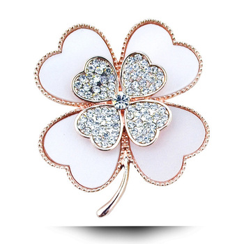 rhinestone clover brooch white and black color for choose plant pins and brooches wedding jewelry gold plated accessories