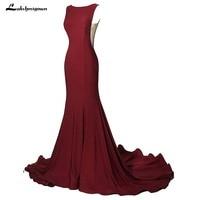 Burgundy Mermaid Evening Dresses 2018 Formal Prom Party Dress Sexy Long Evening Gown pink Vestido De Festa 4 Colors