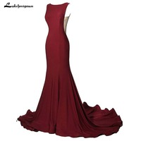 Burgundy Mermaid Evening Dresses 2018 Formal Prom Party Dress Sexy Long Evening Gown pink Vestido De Festa 4 Colors