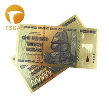 Zimbabwe One Hundred Trillion Dollars Gold Banknote In 24k Plated Colorful 10pcs/lot for Collection