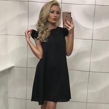 Ermonn Fashion Casual Cute Women Dress Loose Solid Short Sleeve Beach Party Dress Ukraine 2017 Summer Above Knee Mini Dress