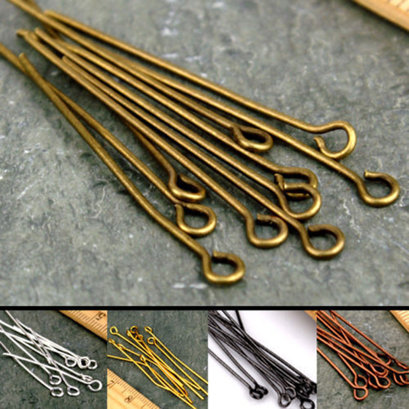 100pcs 20 30 35 40 45 50 60 65 70 mm 21 Gauge Metal Heads Eye Pin For Jewelry Making Findings Accessories Wholesale Supplies