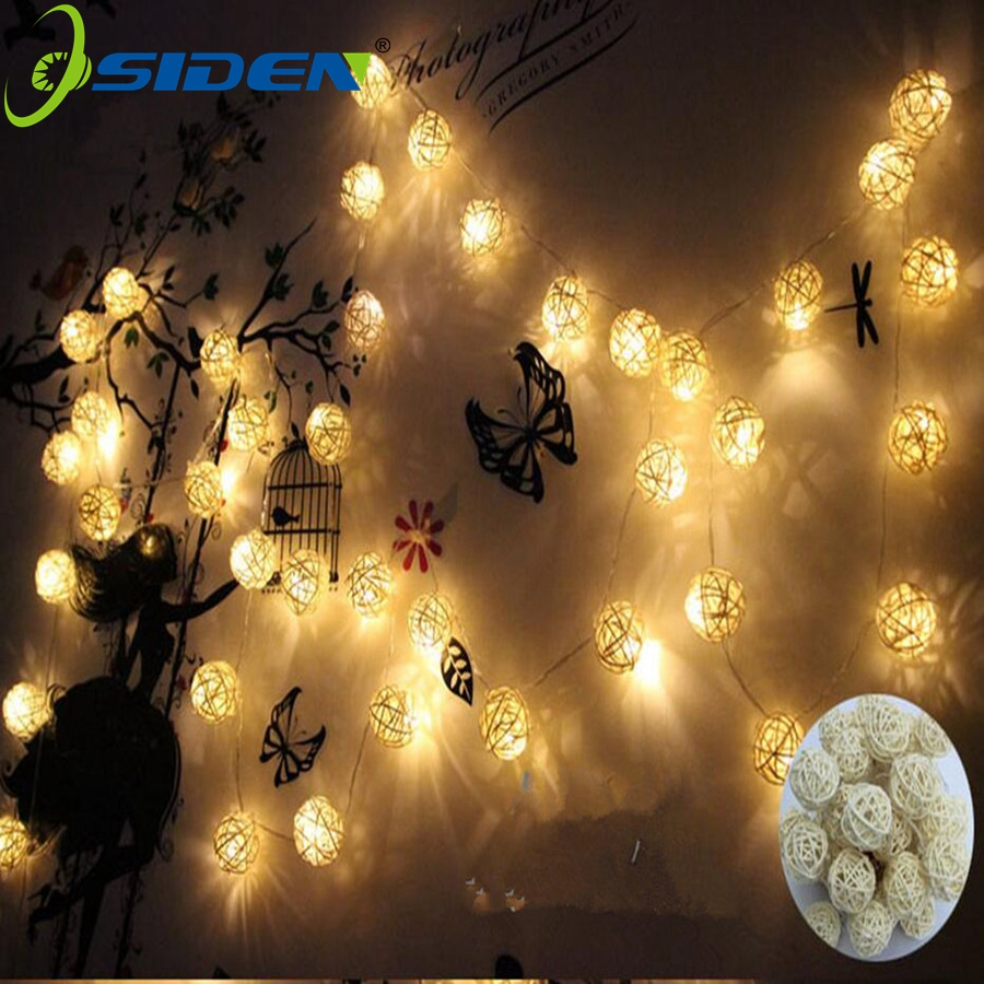 OSIDEN 5M 20Led Rattan Ball LED String Light Varm White Fairy Light Holiday Light För Party Christmas Wedding Decoration