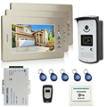 JERUAN Brand New 7 inch LCD Screen Video DoorPhone Intercom System 3 Monitor + 700TVL RFID Access Camera + Remote Control