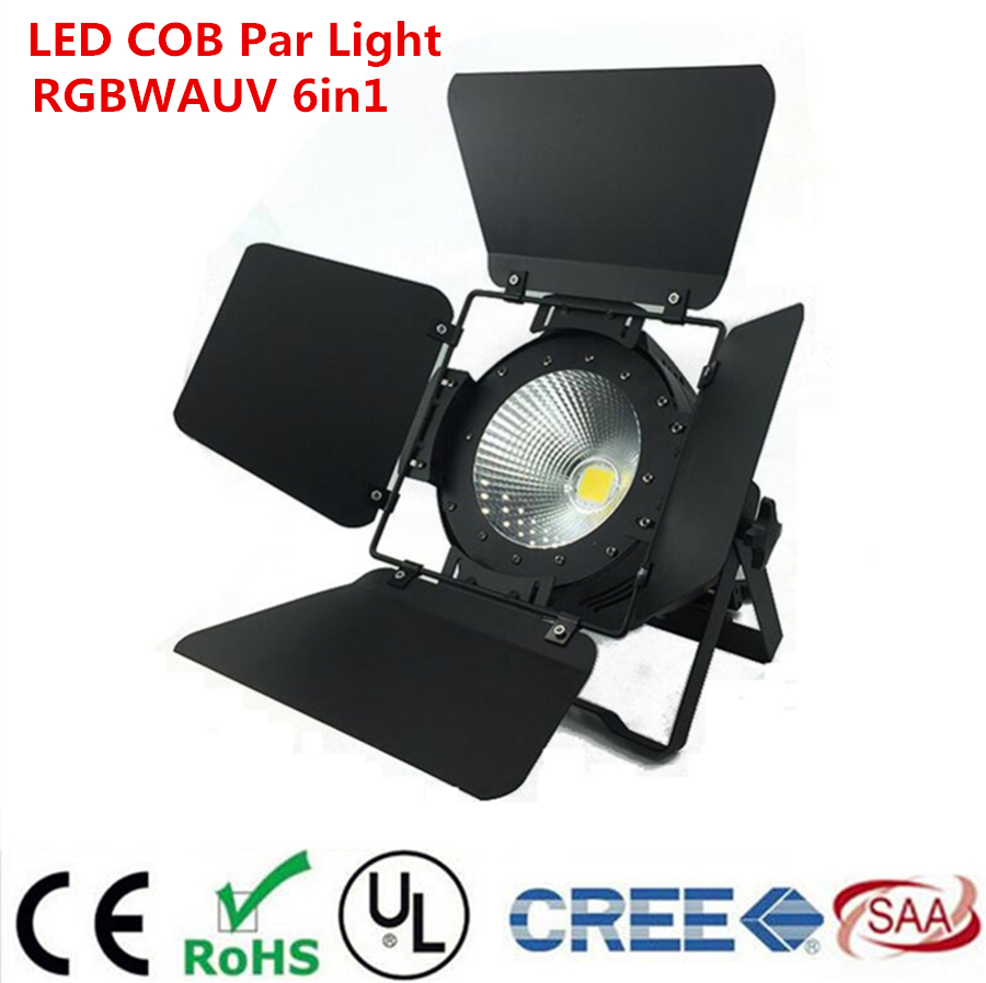 LED Par COB 200W RGBWA UV 6in1  Lyre Stage Lighting Effect Professional Stage For Clubs Luces Discoteca Disco With Barn Doors