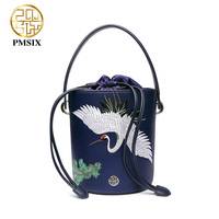 Pmsix Designer Brand Famous In Womens Bag Embroidery Animals Blue Split Leather Messenger Bags Funny Bucket