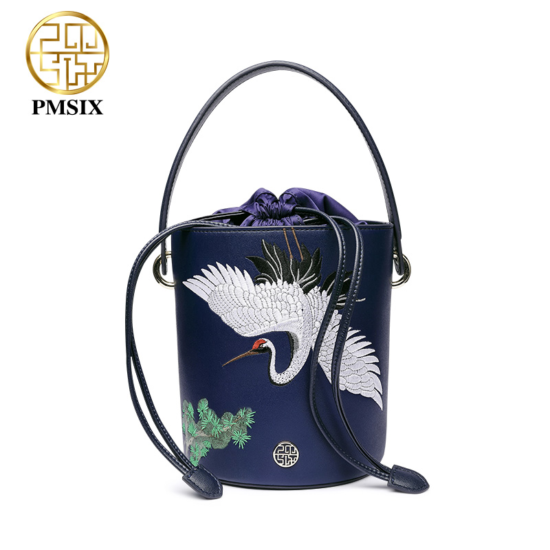 Pmsix designer brand famous in womens'bag Embroidery animals blue Split leather messenger bags funny Bucket bag Bolsas De Couro 4 in 1 composite bag female lolita style zipper leather cute bear pendant designer brand handbags for women bolsas de couro 49
