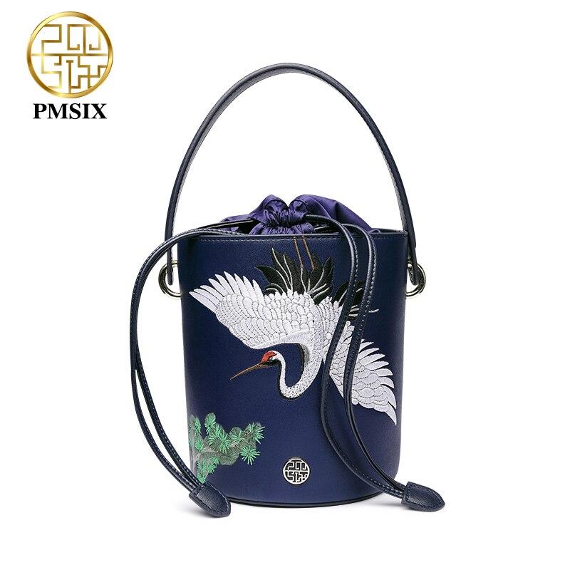 Pmsix designer marque célèbre dans womens'bag Broderie animaux bleu Split en cuir sacs De postier drôle sac en seau Bolsas De Couro