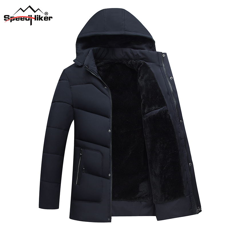 Speed Hiker   Parka   Men Winter Thick Jacket Cotton Padded Warm thicken Short coat Clothing Hooded Fur Collar Male Solid coat 4XL
