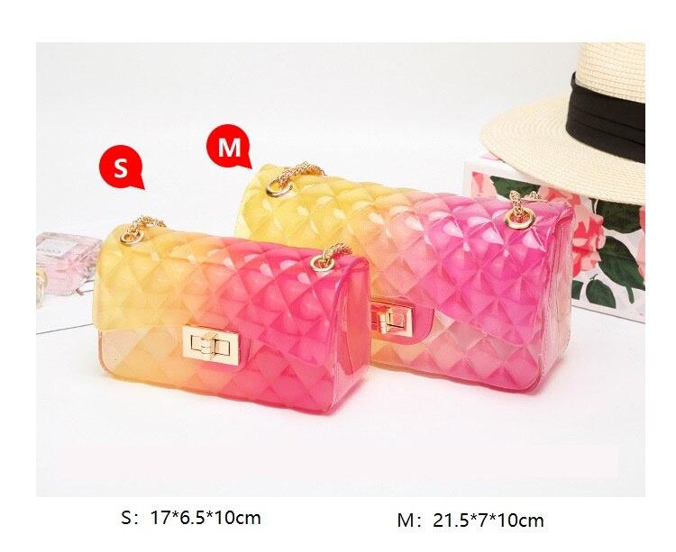Women Handbag Plaid Jelly Bag PVC Transparent Gradient Candy Color Crossbody Bags Designed Ladies Shoulder Chain Messenger Bag