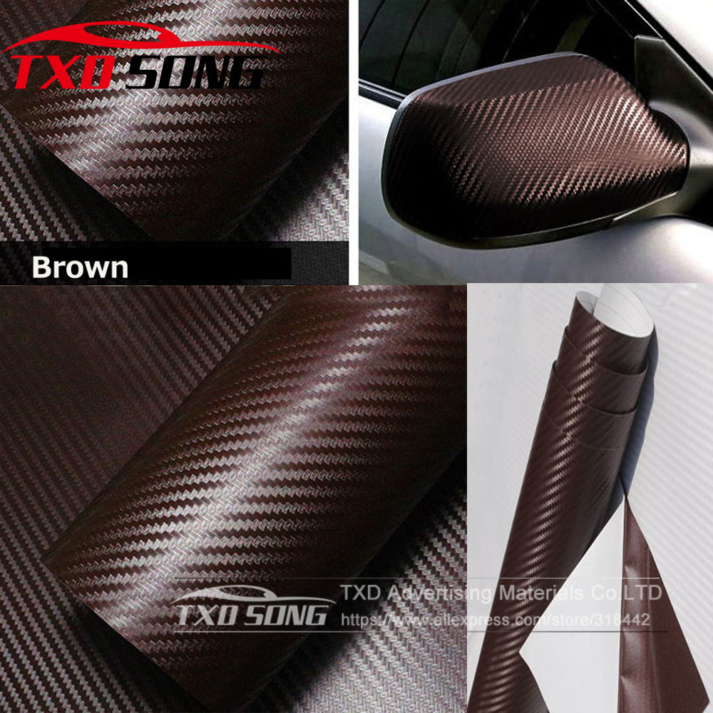 30x127cm 12 Quot X50 Quot Brown 3d Carbon Fiber Vinyl Car Wrapping