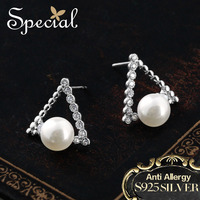 Special Brand Fashion 925 Sterling Silver Stud Earrings Triangle Shell Beads AAA Zirconia Ear Pin Jewelry