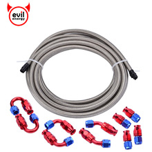 evil energy 5Meter AN4 Braided  PTFE E85 Fuel Hose Line+PTFE End 0+45+90+180 Fitting Adapter Kit Oil Cooler