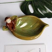 Ceramic Monkey Leaf Creative Home Decor Crafts Room Decoration Handicraft Ornament Porcelain Novelty Happy Birds Figurine Plate