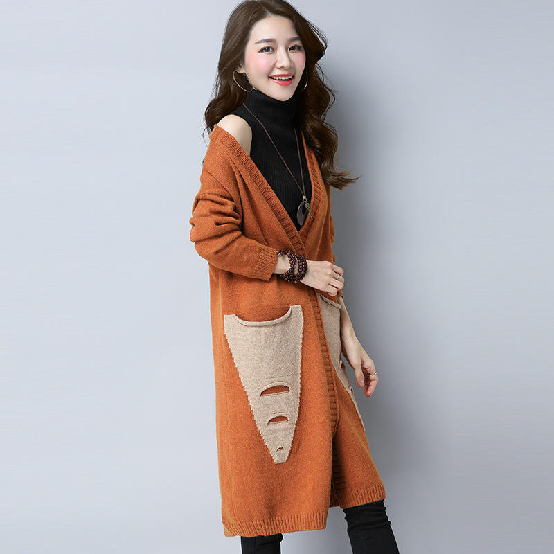 Long Womens Cardigans Color Patchwork Casual Sweeter ...