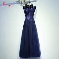 Jark Tozr Custom Made Vestido Longo Beading Navy Blue Tulle Long Formal Evening Dresses With Bow Shawl Abiye Gece Elbisesi