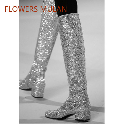 Fashion New Famous Brand Women Long Knee High Boots Sequined Rivets Suede Leather Ladies Martin Boots Side Zip Low Chunky Heel стоимость