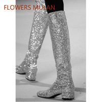 Fashion New Famous Brand Women Long Knee High Boots Sequined Rivets Suede Leather Ladies Martin Boots Side Zip Low Chunky Heel