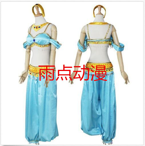 Free shipping Cosplay Professional Aladdin Jasmine Dress Aladdin Theme Costumes Princess For Women/ Kids