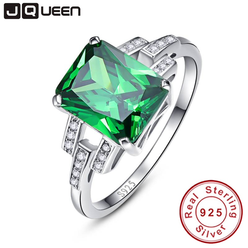 Classic 10.75ct Nano Russian Emerald Ring Emerald Cut Solid 925 Sterling Silver Ring Set Best Brand Fine Jewelry For Women