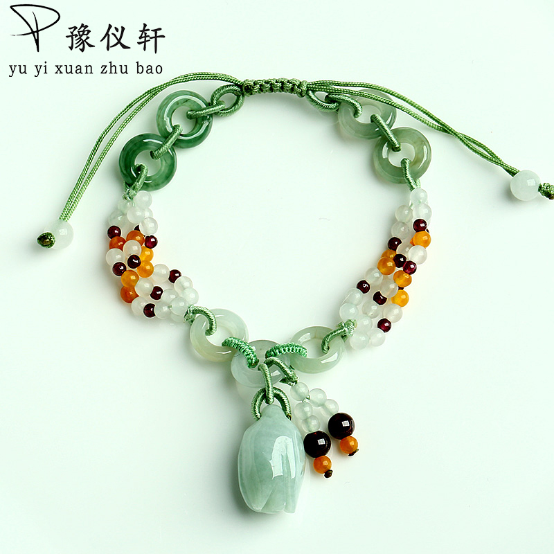 Yu YiXuan Natural jade roses braided bracelet genuine A goods emerald retractable bracelet female simple jewelry free shipping