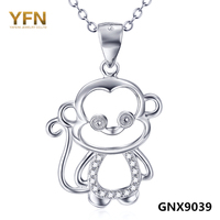 GNX9039 Newest 2016 Monkey Year Genuine 925 Sterling Silver Jewelry Cubic Zircon Lovely Monkey Pendant Necklace