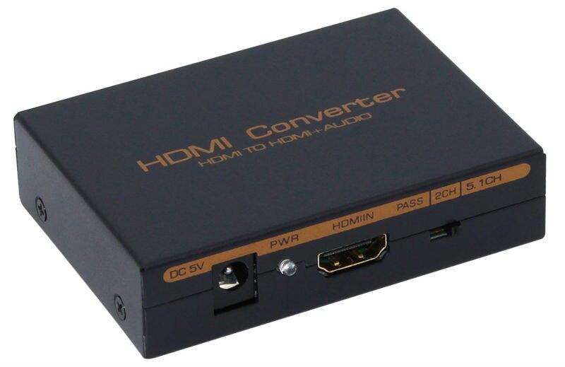 <font><b>2</b></font> <font><b>PCS</b></font> <font><b>HDMI</b></font> Converter Audio Splitter HD 1080P <font><b>HDMI</b></font> <font><b>to</b></font> <font><b>HDMI</b></font> Audio <font><b>SPDIF</b></font> + <font><b>RCA</b></font> <font><b>L</b></font> / R Extractor Splitter with Power Supply Adapter