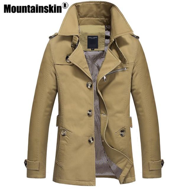 Mountainskin Trench Coat Mens Jacket 5XL Autumn Long Coat Mens OverCoat Slim fit Brand Clothing Windbreaker Male Business EDA216
