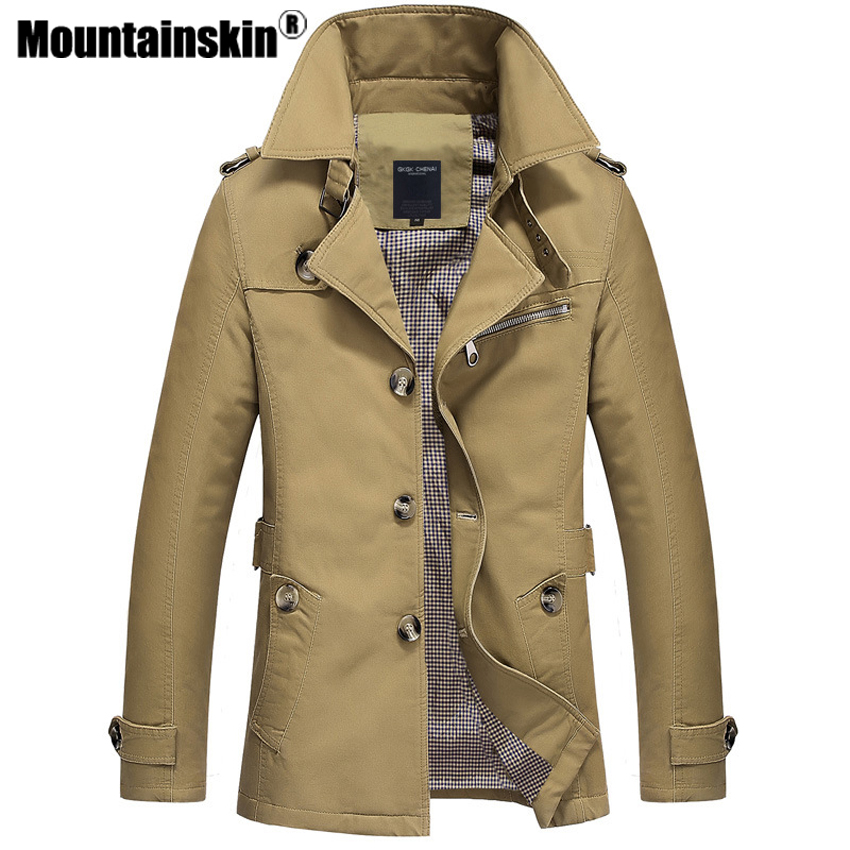 Mountainskin Trench Coat Mens Jacket 5XL Autumn Long Coat Mens OverCoat Slim fit Brand Clothing Windbreaker Male Business EDA216