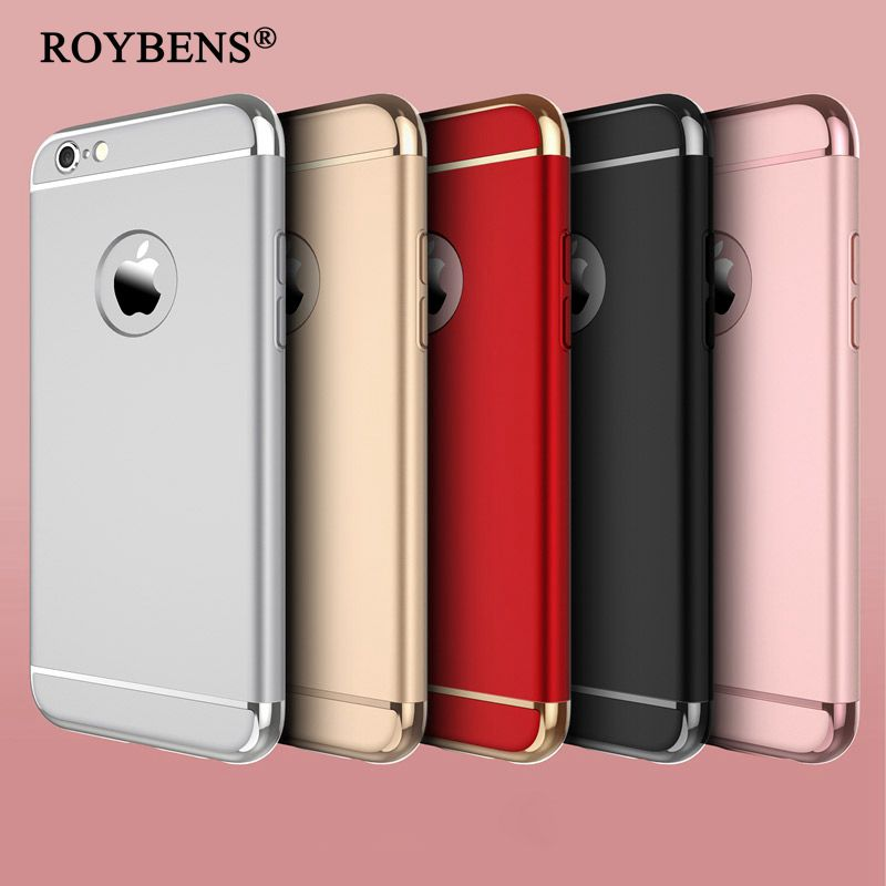 Luxury 3 in 1 Shinny Arc + Rose Gold PC Plating Back Cover For iPhone 6 6S 4.7 / For iPhone 6 6S Plus 5.5 Hard Case Ultra Slim