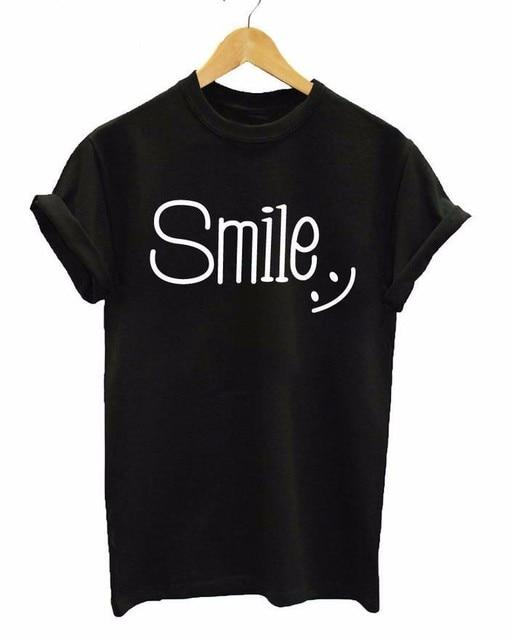 Новое поступление Женская Черная футболка улыбка Мода Письмо слова принтом хлопковая футболка Топы и рисунок можно настроить