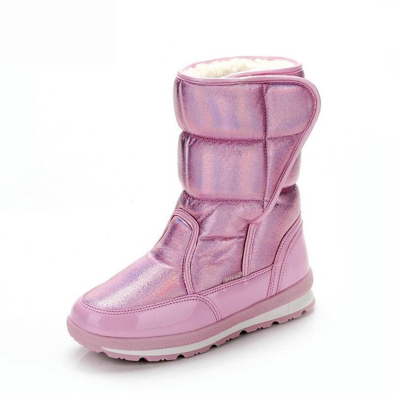Ботинки для девочек; Новинка 2019 года; высококачественные детские зимние ботинки; теплая плюшевая зимняя обувь; модные Нескользящие Детские ботинки с принтом