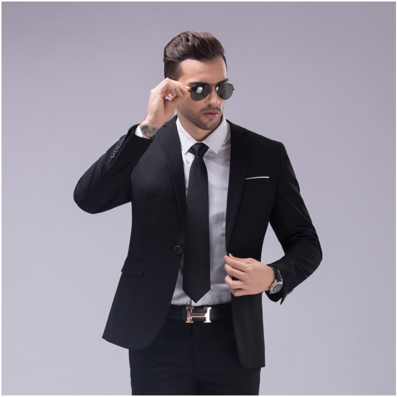 New wine red black Men Suit Spring Slim 2017 Groom Wedding Suits For Men Tuxedo One Button Blazer Custom Made(Jacket+Pants)
