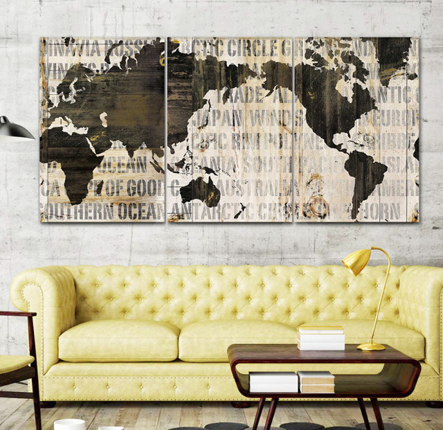 3 IN 1 World Map Canvas Art Print, Large Wall Art Painting Print for ...