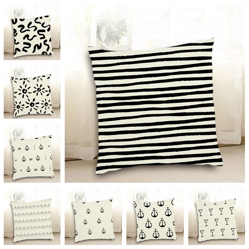 Black Small Boat Anchor Geometric Woven Linen Printed Cushion Cover Pillowcase Square 45*45cm Home Seat Car Decor Shams F2211