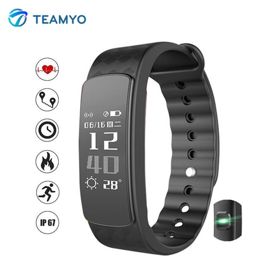 Teamyo i3 HR Bluetooth Smart Խոզանակ Ապարանջանի սրտի գնահատման ֆիթնես Tracker IP67 Անջրանցիկ ձեռնաշղթա Twitter- ի հետ Whatsapp հիշեցմամբ