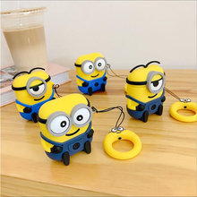 Despicable Me Minions Ring Chain Case for Apple AirPods Protective Cover 3D Silicone For 1 2 #FO